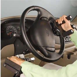 driver using adaptive driving equipment